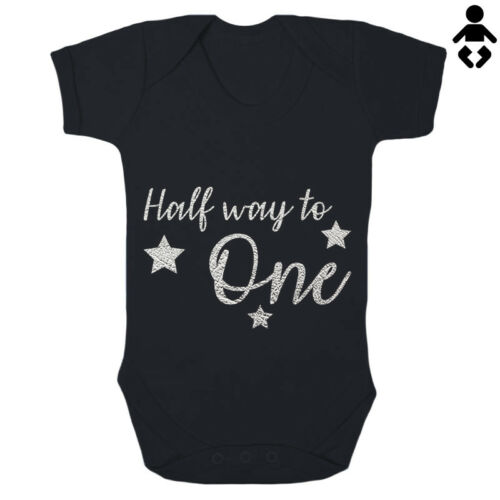 6 MONTHS 1 HALF WAY TO ONE 1//2 way birthday Cute Babygrow BABY VEST Bodysuit