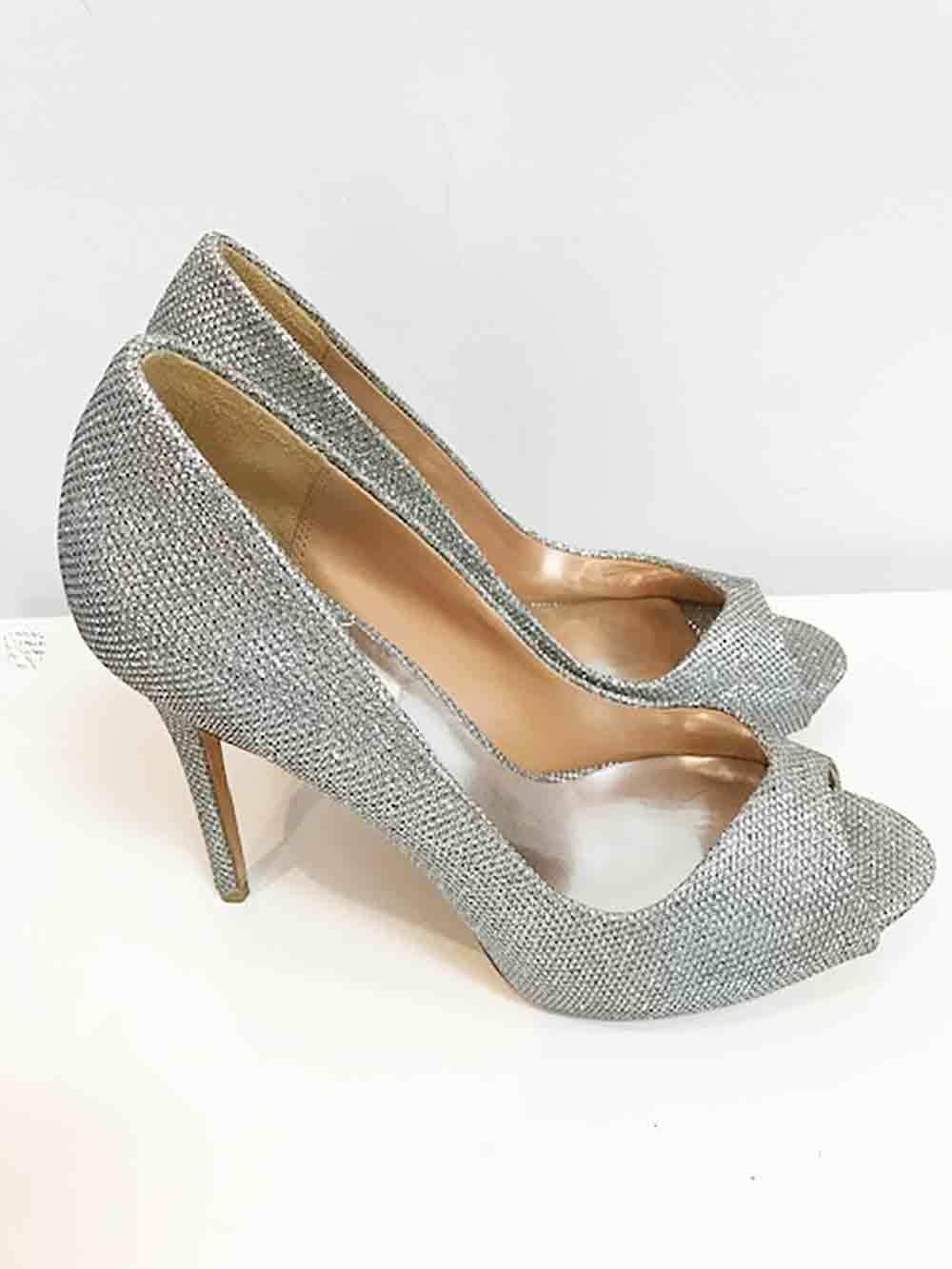 Designer Designer Designer BNWOB Badgley Mischka Size 8M Leather & Silver Fabric Women's Heels e2916b