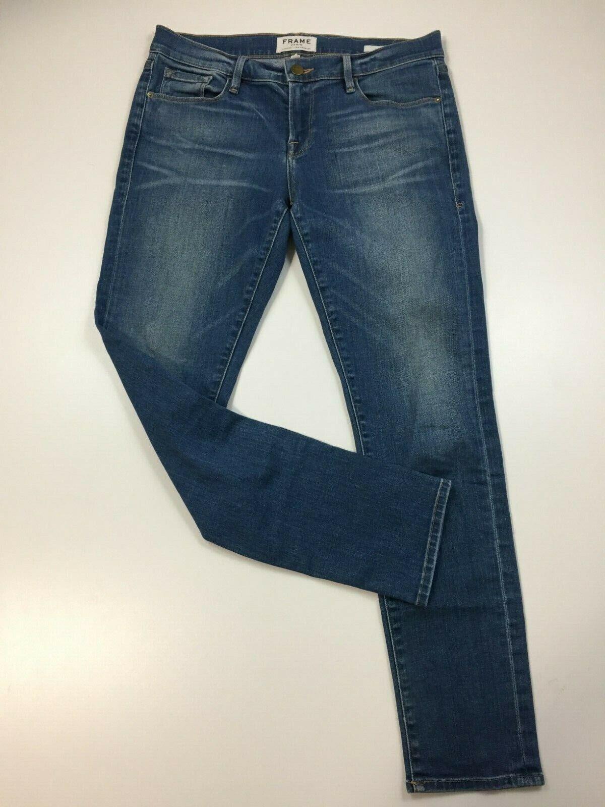 FRAME DENIM damen Sz 26 Medium Wash LE GARCON Logo Hardware Jeans