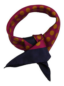 Silk-scarf-featuring-gold-dots-on-burgundy-background-with-navy-blue-border