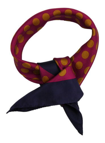 Silk scarf featuring gold dots on burgundy background with navy blue border