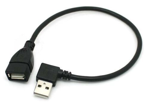 Pair right left angled 90degree USB 2.0 A Male to Female adapter extension cable