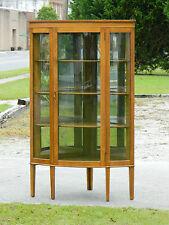 Beautiful Tiger Oak Bow Front Corner China Cabinet Display Cabinet circa1900
