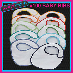 100-White-Plain-Baby-Bibs-Coloured-Rim-Job-Lot-Bulk-Buy-Wholesale