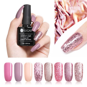 UR-SUGAR-7-5ml-Rose-Gold-Glitter-Soak-Off-UV-Gel-Pink-Nail-Art-Gel-Polish