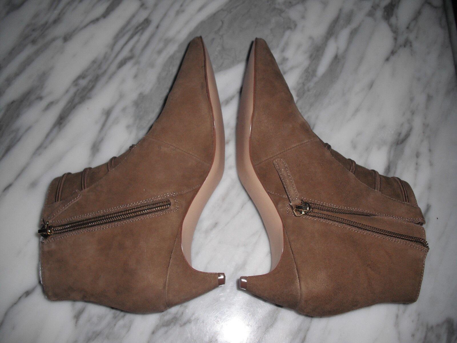 Nine west women point toe booties ZADAN brown suede size 6.5M new