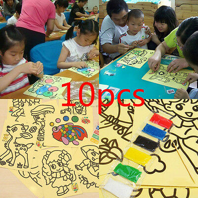 Sale 10Pcs Sand Painting Pictures Children DIY Education Intelligence Toy dsus