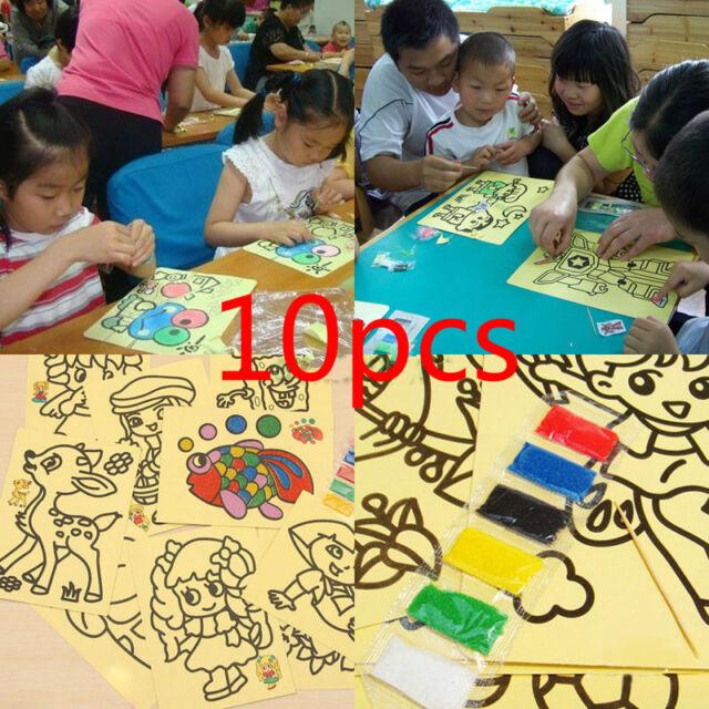 Sale 10Pcs Sand Painting Pictures Children DIY Education Intelligence Toy dsus