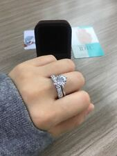 14k White Gold 1.5 CT Round Engagement Bridal Ring Set 2 piece Wedding Band
