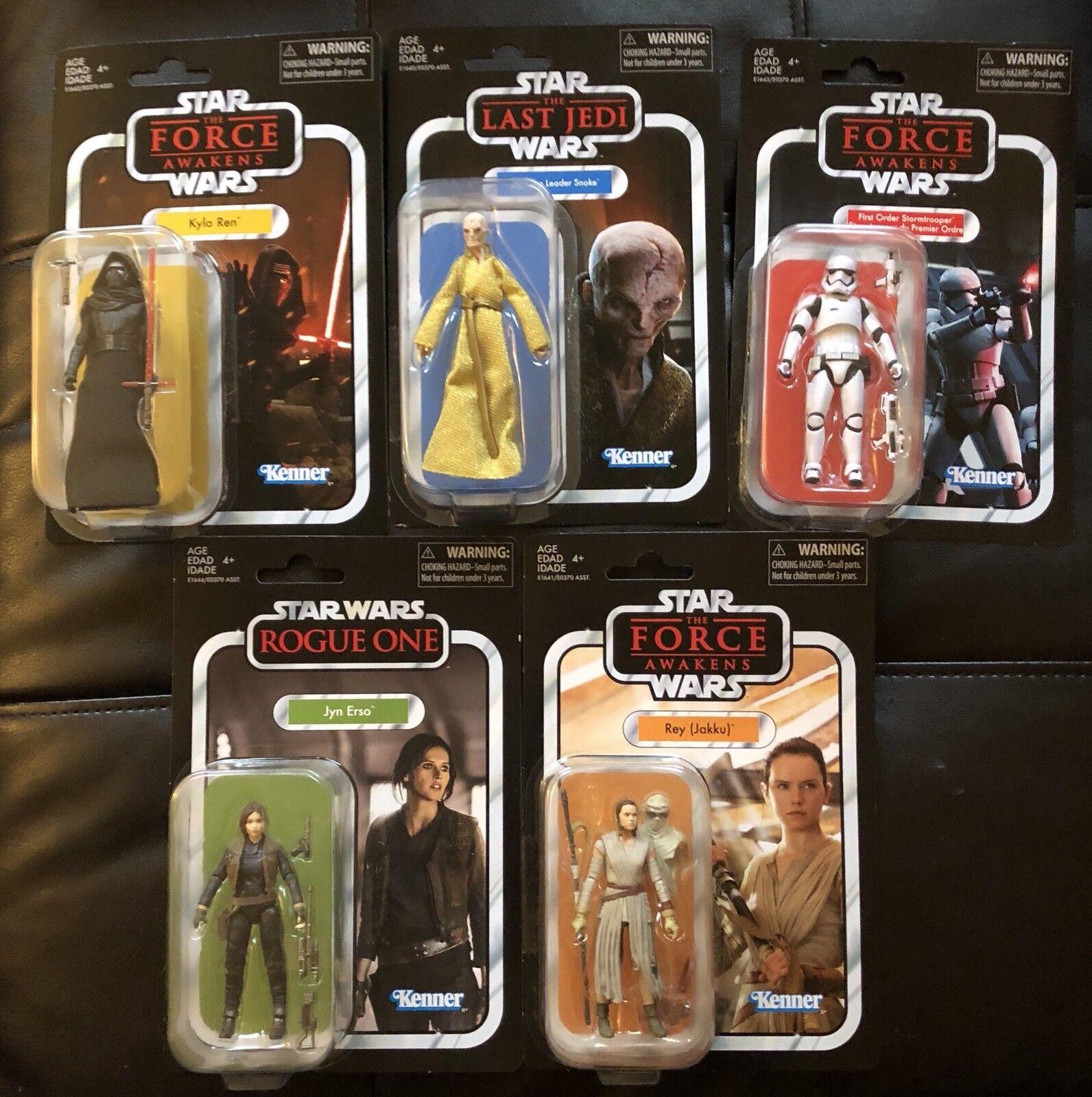 5 Star Wars Vintage Collection Figures Snoke, Kylo Ren, Trooper, Rey, Jyn New