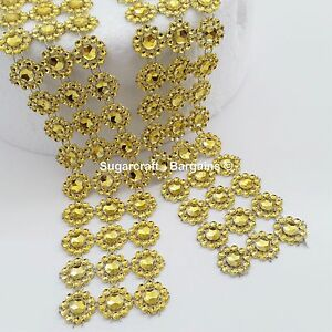 GOLD-SUNFLOWER-Diamante-Bling-Sparkling-Effect-Wedding-Cake-Craft-Trim-Ribbon