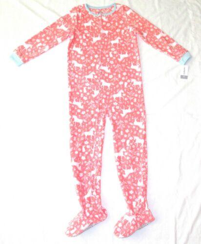 Carters Fleece Footed Pajama Blanket Sleeper Size 14 Unicorn Floral Flowers Pink