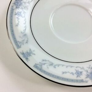 SHEFFIELD-CHINA-Blue-Whisper-Floral-Saucer-Plate-Silver-6-inches-diameter-USED