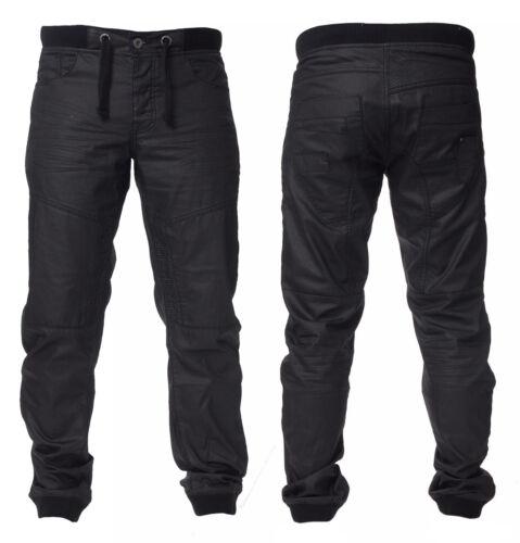 Schwarzem Herren Enzo Mode Manschette Jogger Jeans Ez 377 Beschichtetes Denim
