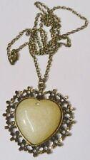 pendentif bijou vintage victorian cabochon coeur cristaux couleur bronze /186