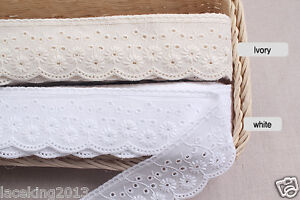 14Yds-Broderie-Anglaise-cotton-eyelet-lace-trim-1-8-034-4-5cm-YH865a-laceking2013