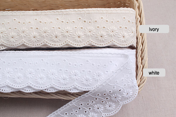 "14Yds Broderie Anglaise cotton eyelet lace trim 1.8""(4.5cm) YH865a laceking2013"