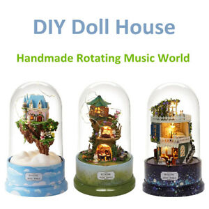 DIY-Music-Small-Doll-House-Miniature-Kit-Rotating-Box-With-Dust-Cover-Kids-Gifts