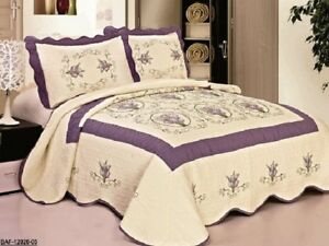 Quilted-Embrodiery-Bedspread-Bed-Coverlets-Covers-Set-Taupe-Burgundy-Aqua-Blue