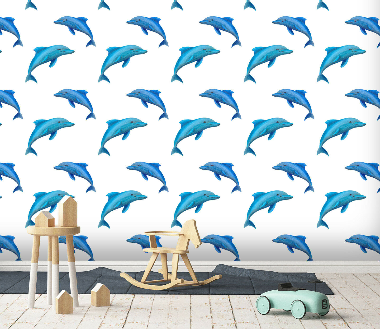 3D Dolphin bluee 23 Wallpaper Mural Wall Print Decal Indoor Murals AU Lemon