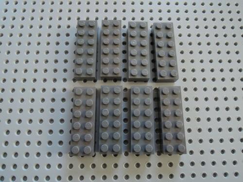 Lego 8 x Stein Baustein Basic hoch 2456 neu dunkelgrau  2x6