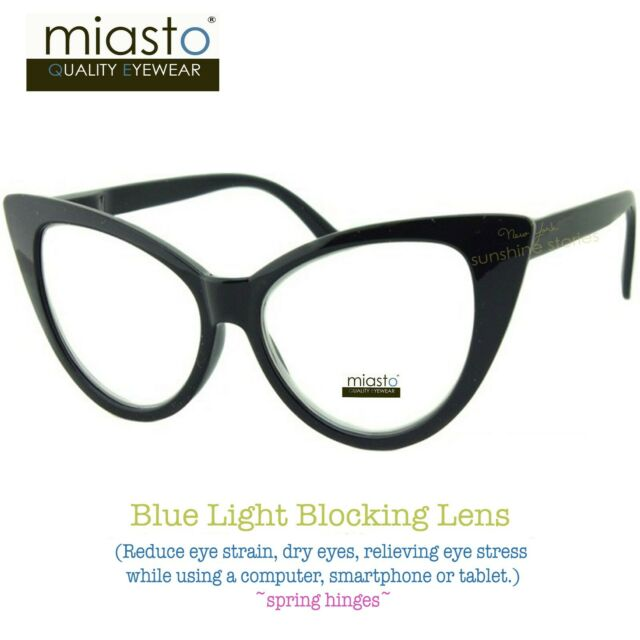 MIASTO BIG CAT EYE COMPUTER READER READING GLASSES +2.25 BLACK (ANTI-BLUE LIGHT)