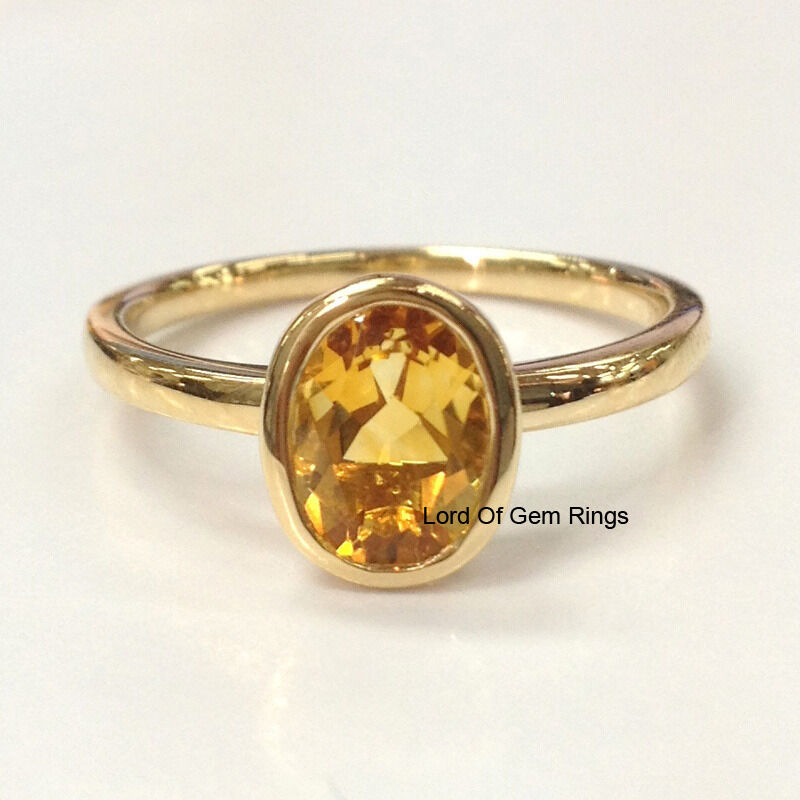 Citrine Solitaire Engagement Wedding Ring,Oval Cut 6x8mm,14K Yellow gold,Bezel