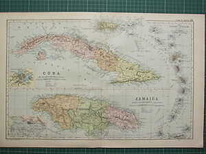 1900-LARGE-VICTORIAN-MAP-CUBA-HAVANNA-ENVIRONS-JAMAICA-KINGSTON-LESSER-ANTILLES