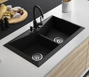 Details About Black Granite Composite Double Bowl Kitchen Sink
