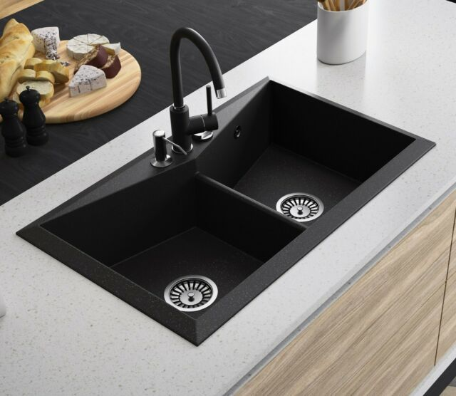 Lavello Black Granite Composite Double Bowl Kitchen Sink Diamond 200LT