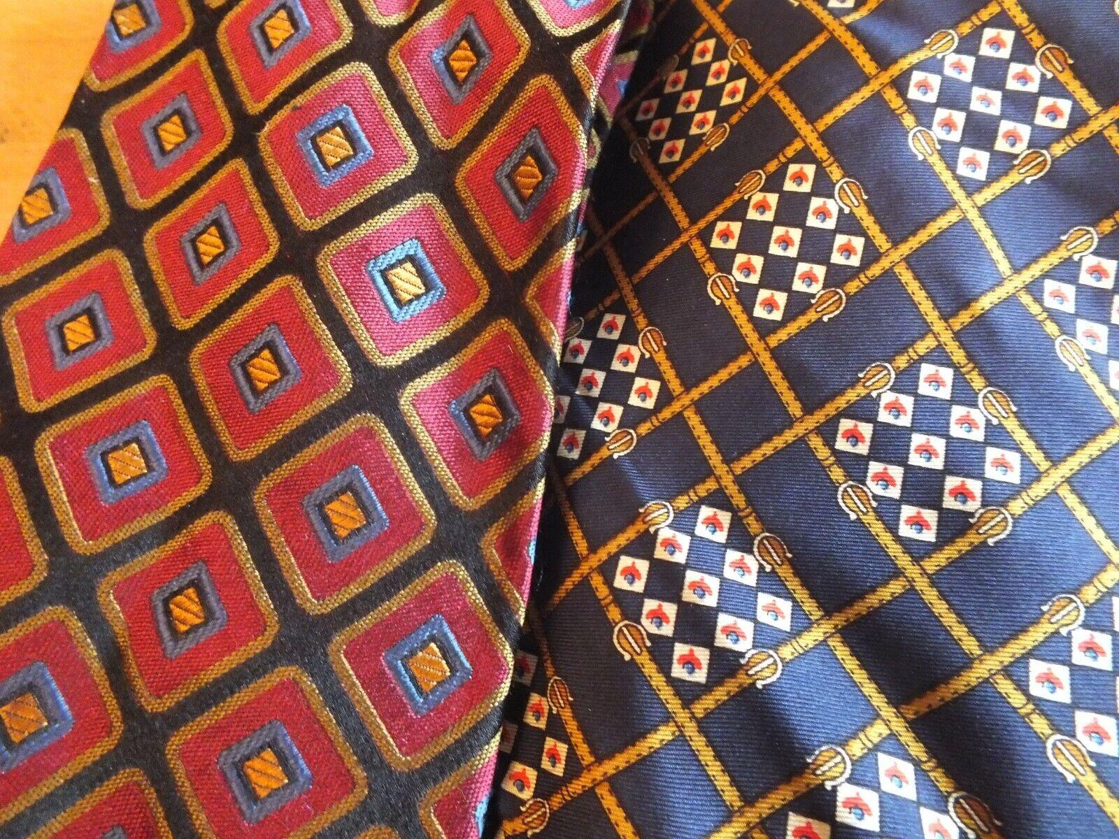 2 x edle Seiden Krawatten 100% Seide, Fasini, Pfau, top Zustand