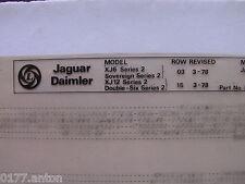 XJ-S Ersatzteilliste 1978 Jaguar Daimler XJ 6 XJ 12 Sovereign Double-Six Serie 2