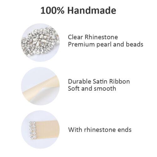 Rhinestone Bridal Sash Waist Belt with Satin Ribbon for Wedding Party Dress NEW