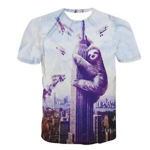 Funny-King-Sloth-Animal-Graphic-Summer-Men-Women-3d-Print-T-Shirts-Retro-Tee