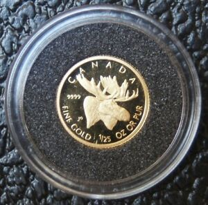 2004-CANADA-50-CENTS-GOLD-Moose-1-25-oz-9999-Pure-Gold-with-Box-Wildlife