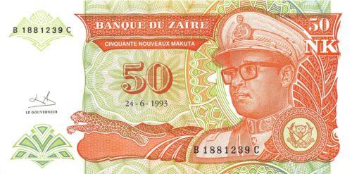 Zaire 50 N. Makuta 24.6.1993 P 51 Series B-C Uncirculated Banknote