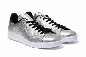 Adidas Originals Stan Smith Ostrich Leather Metallic Silver Shoes (Size 10.5)