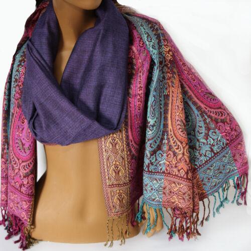 Écharpe Femmes Écharpe Paisley Orient écharpe 215 x 75 viscose Tournant écharpe violet coloré C