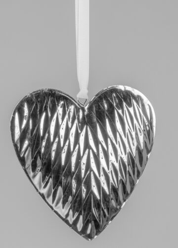 Deko Hänger Herz DIAMANT D 14cm aus Edelstahl silber Formano