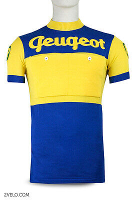 new never worn XXL yellow vintage wool jersey PEUGEOT BP blue