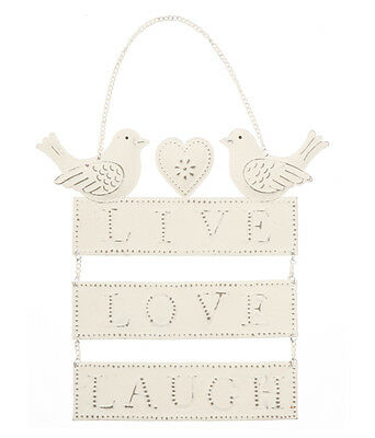 Shabby Chic Vintage Cream Hanging Birds & Hearts Sign Plaque - Live Love Laugh