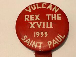 Vintage-1955-St-Paul-Winter-Carnival-Pinback-Button-Vulcan-Rex-the-XVIII
