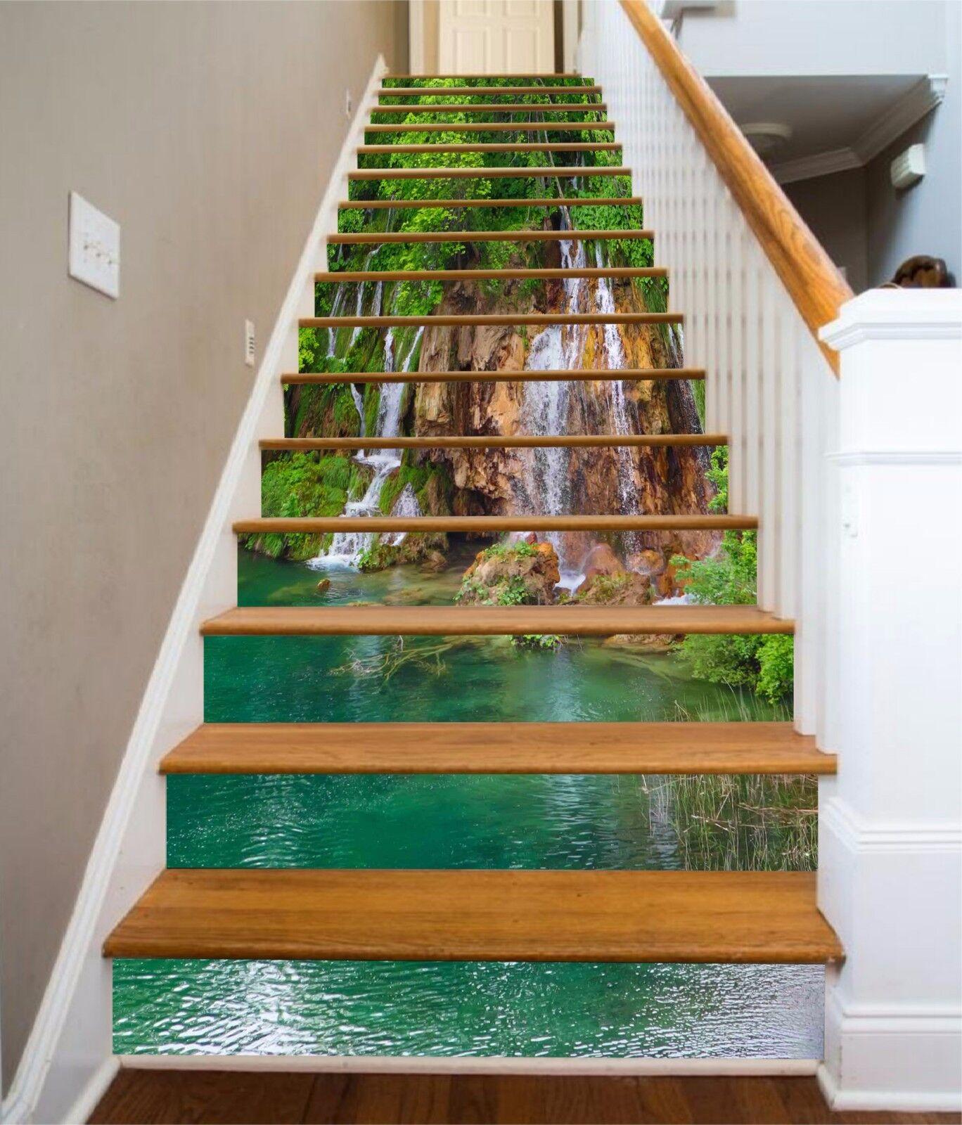 3D Stone Lake 332 Stair Risers Decoration Photo Mural Vinyl Decal Wallpaper UK