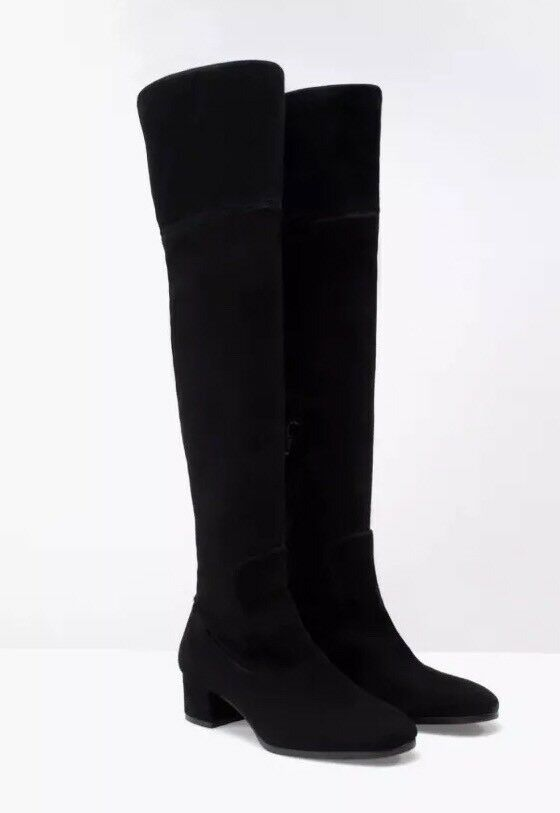 Zara Stretch Mid Heel Over The Knee Boots Size 4
