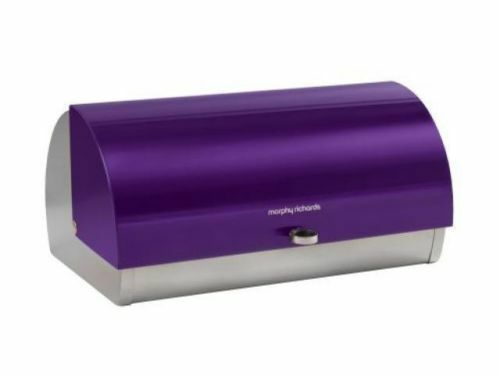 Morphy Richards Contemporary Stainless Steel Roll Top Bread Bin - Plum Purple