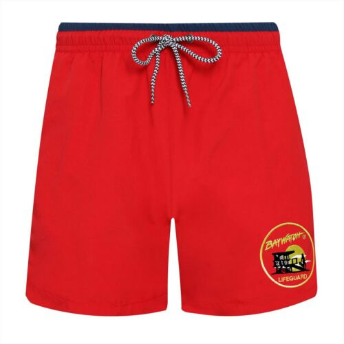 AF Navy Lifeguard Swim Shorts BAYWATCH ® Embroidered Licenced Red