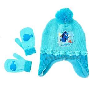 bde0da95b34 Disney Finding Dory Girls Blue Earflap Pom Pom Beanie Winter Hat Cap ...