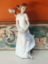 "NAO Lladro #1425 ""Kissed by the Wind"" wind blown girl w blue scarf - MINT,no box"