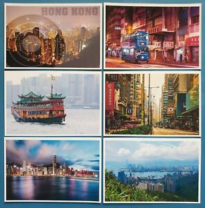 Collection-of-6-New-Glossy-HONG-KONG-China-Postcards-by-Cavalier-53O