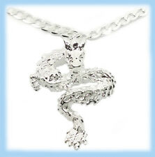 """925 Sterling Silver 24"""" Womens Mens Necklace With Elegant Dragon Pendant D507b"""